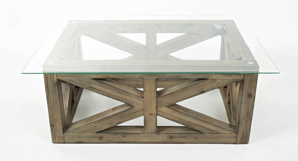 Hampton Road Coastal Sunblasted Solid Wood Rectangle Cocktail Table JFN-873-1B1GKT