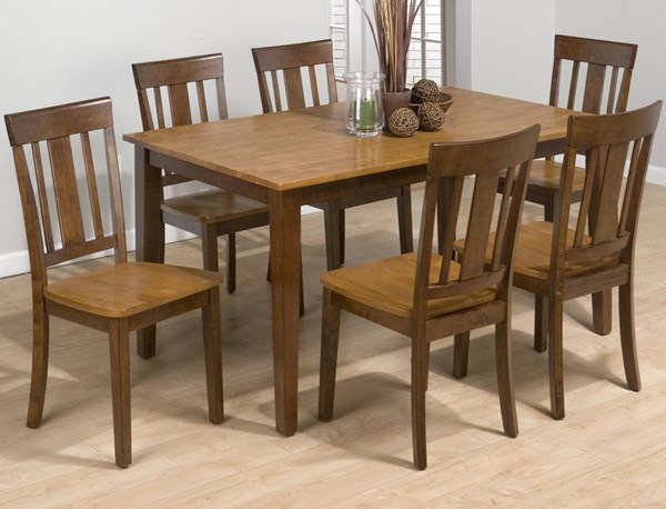 Kura Casual Espresso Wood 7pc Dining Room Set JFN-875DT-set2