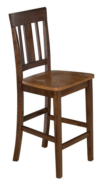 2 Kura Canyon Casual Espresso Gold Solid Wood Triple Upright Stools JFN-875-BS265KD