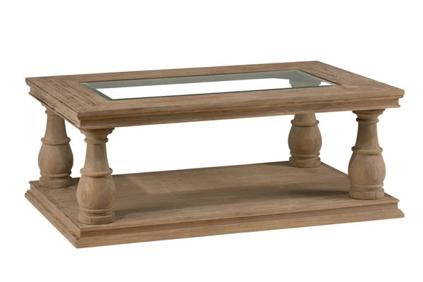 Big Sur Solid Wood Glass Pine Cocktail Table w/Shelf JFN-919-1