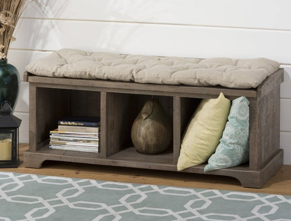 Slater Mill Transitional Brown Reclaimed Pine Storage Bench w/Cushion JFN-940-14