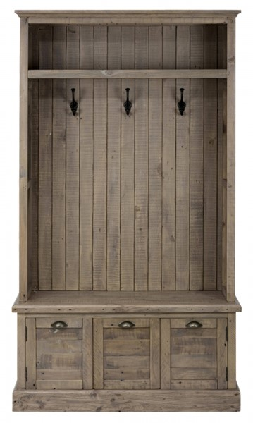 Slater Mill Industrial Reclaimed Pine Hall Tree Base w/2 Doors JFN-940-15B