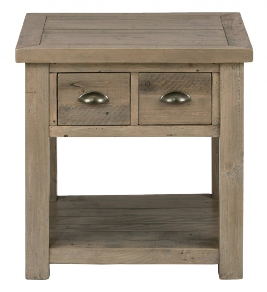 Slater Mill Industrial Brown Reclaimed Pine 2 Drawers End Table JFN-940-3