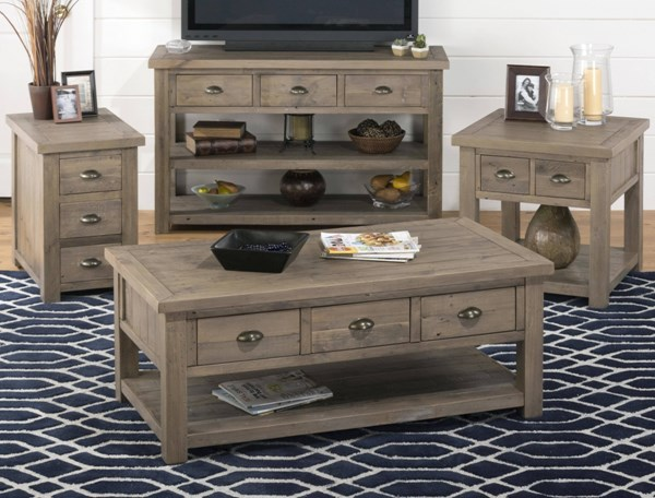 Slater Mill Transitional Brown Pine Coffee Table Set JFN-940-OCT