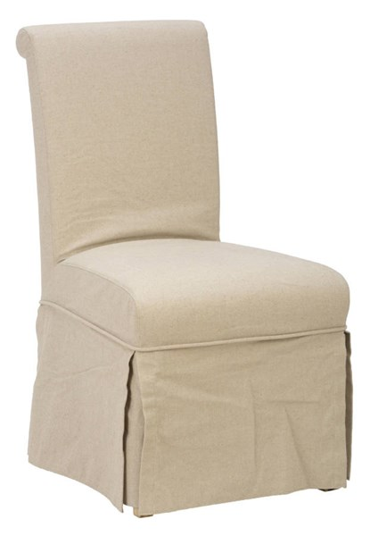 2 Slater Mill Transitional Brown Wood Slipcover Skirted Parson Chairs JFN-941-162KD
