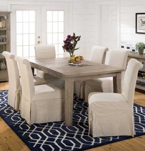 Slater Mill Transitional Brown Wood Fabric Armless 7pc Dining Room Set JFN-941-72-162kd-DR-S