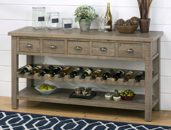 Slater Mill Transitional Brown 60 Inches 5 Drawers Wine Rack / Server JFN-941-89