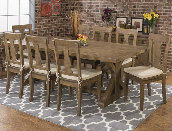 Slater Mill Transitional Solid Wood 9pc Dining Room Set JFN-941-97-458KD