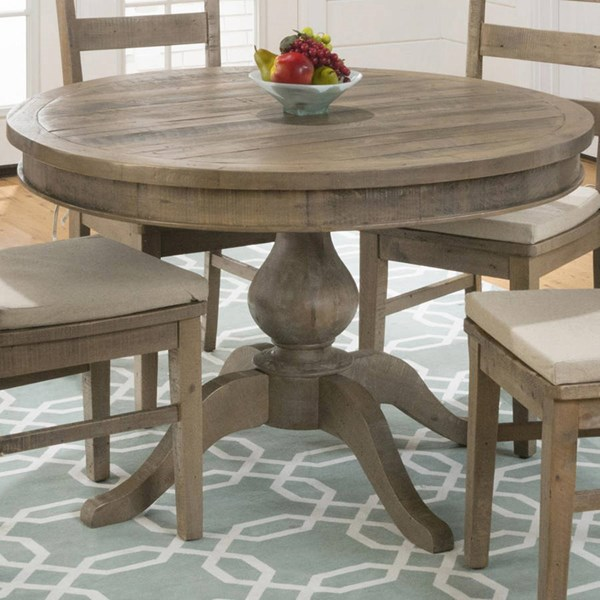 Slater Mill Cottage Brown Wood Reclaimed Pine Round To Oval Dining Top JFN-941-66T