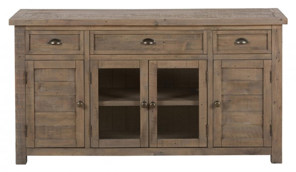 Slater Mill Transitional Pine 60 Inch Reclaimed Media Unit w/3 Drawers JFN-942-60