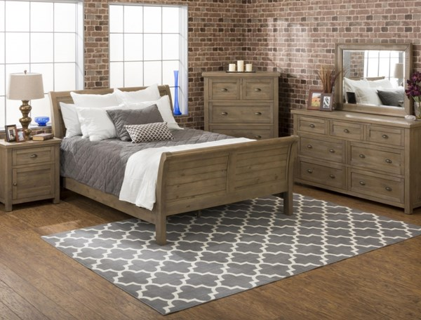 Slater Mill Cottage Pine Wood 2pc Bedroom Set W/Queen Sleigh Bed JFN-943-BR-S1