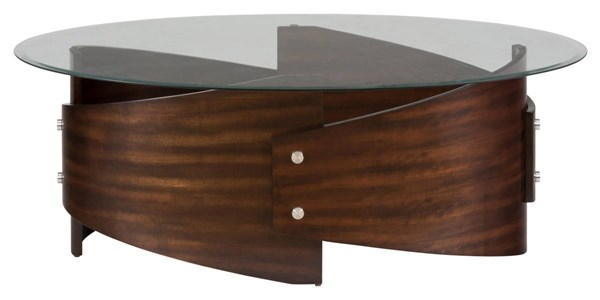 Waterville Contemporary Walnut Cocktail Table Glass Top JFN-956-1G