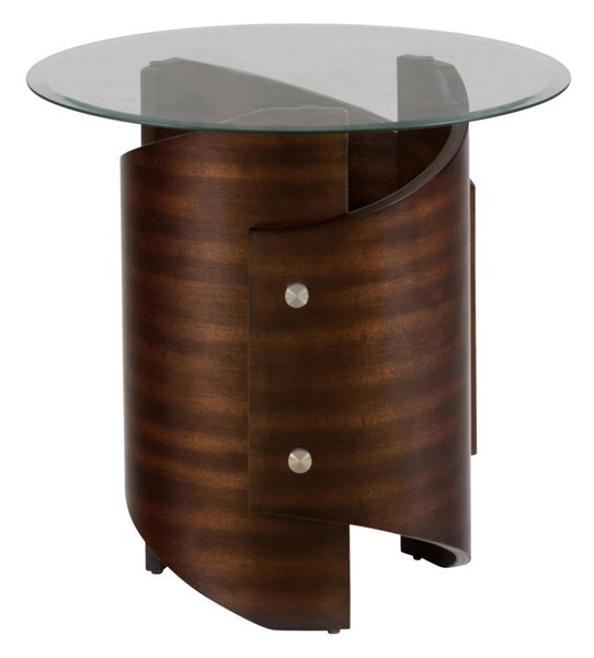 Waterville Contemporary Walnut Glass End Table w/5mm Tempered Glass JFN-956-3G
