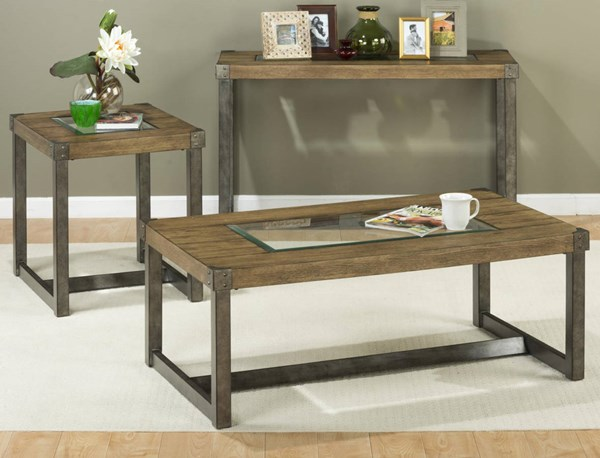 Freemont Transitional Metal Wood Square Leg Coffee Table Set JFN-965-OCT