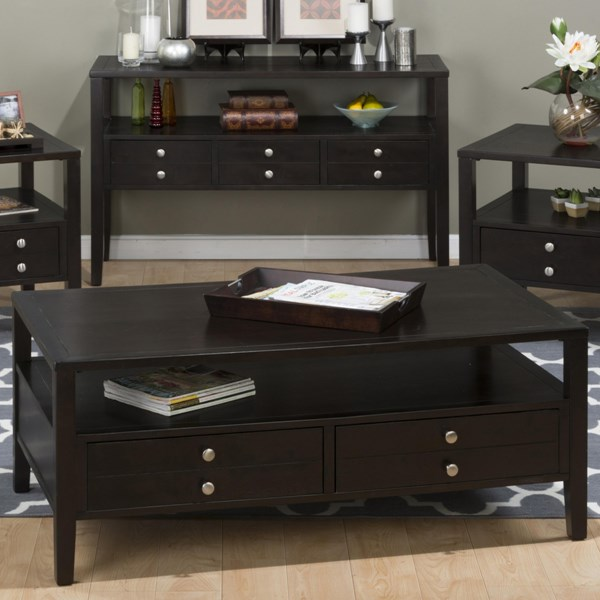 Hamilton Contemporary Espresso Wood Cocktail Table w/Drawers JFN-975-1