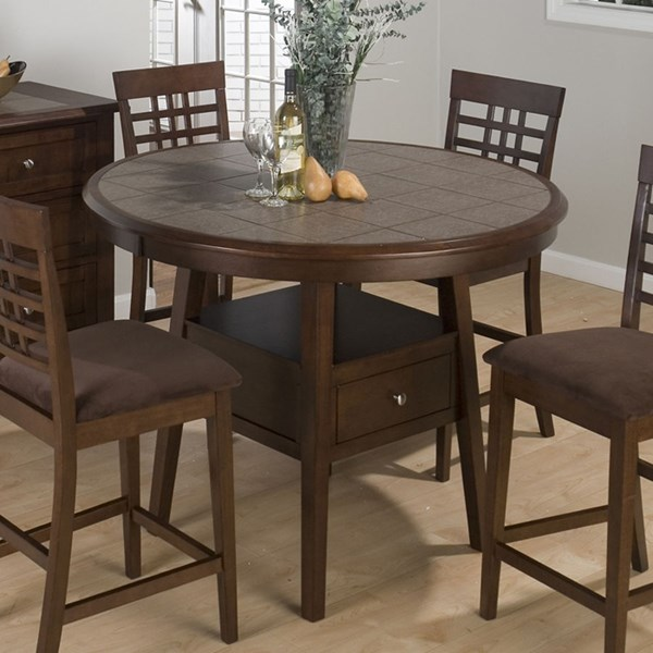 Caleb Contemporary Brown Round Counter Height Table JFN-976-48
