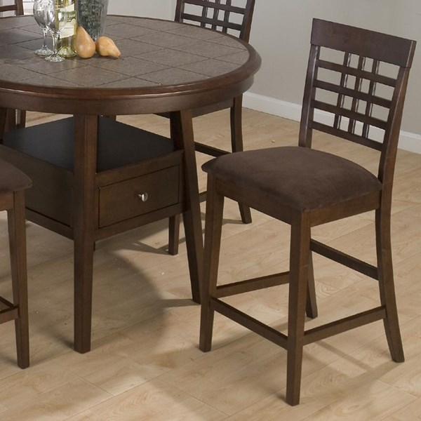2 Caleb Contemporary Brown Microfiber Seat Counter Height Stools JFN-976-BS515KD