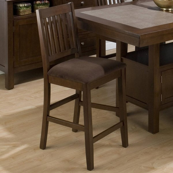 2 Caleb Transitional Brown Bar Stools w/Microfiber Upholstered Seat JFN-976-BS671KD