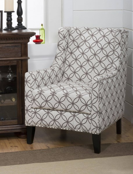 Blake Transitional Accent Chair w/Silver Nailheads & Ballet Fabric JFN-BLAKE-CH-SMOKE