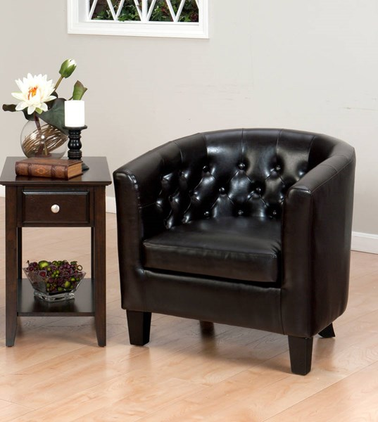 Gianni Contemporary Chestnut Bonded Leather Club Chair JFN-GIANNI-CH-CHESTNUT