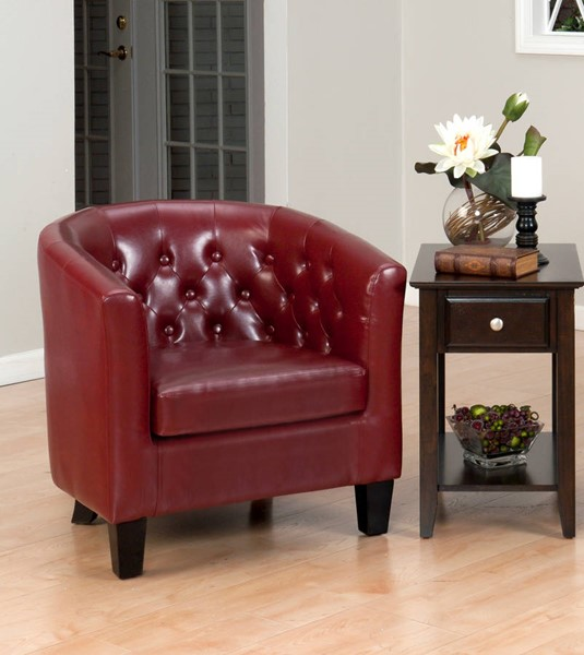 Grace Contemporary Wood Red Bonded Leather Club Chair JFN-GIANNI-CH-RED