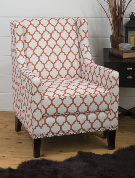 Jeanie Contemporary Wood Polyester Persimmon Red Accent Chair JFN-JEANIE-CH-PERS