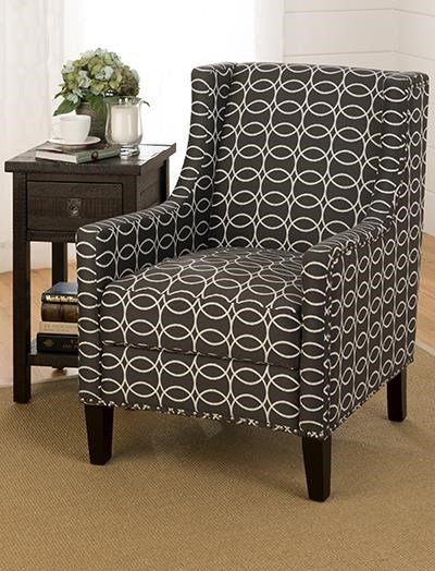 Josie Contemporary Charcoal Wood Fabric Nailheads Accent Chair JFN-JOSIE-CH-CHARCOAL
