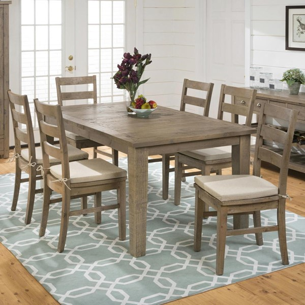 Slater Mill Transitional Brown Wood Fabric 7pc Dining Room Set JFN-941-72-538kd-DR-S