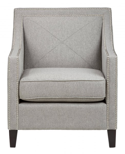 Luca Transitional Ash Fabric Accent Chair w/Silver Nailheads JFN-LUCA-CH-ASH