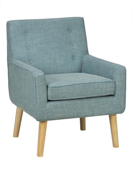 Mila Contemporary Peacock Wood Fabric Accent Chair w/Button Tufting JFN-MILA-CH-PEACOCK