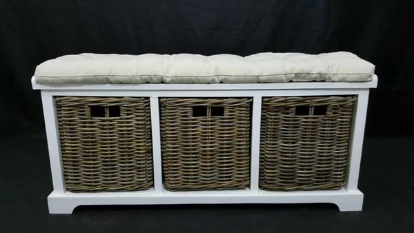 Natural Origins White Wood 3 Basket Storage Bench JFN-1570-14