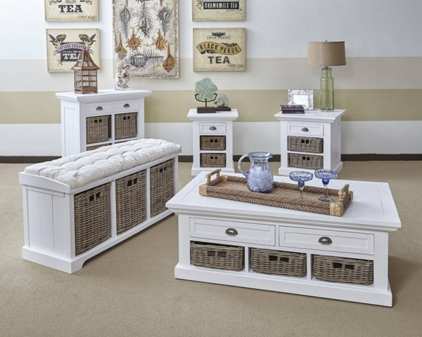 Natural Origins White Wood 3pc Coffee Table Set JFN-1570-OCT-S2