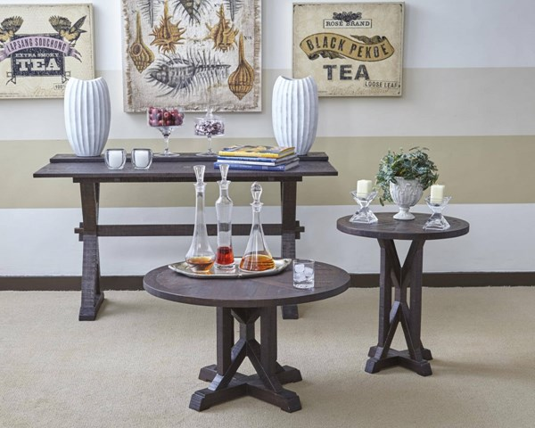Pacific Heights Dark Coffee Solid Wood 3pc Coffee Table Set JFN-1581-OCT-S1