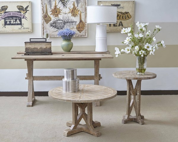 Pacific Heights Transitional Bisque Solid Wood 3pc Coffee Table Set JFN-1591-OCT-S