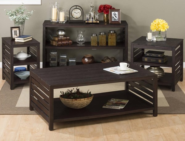 Rich Roast Casual Wood Slatted 3pc Coffee Table Set JFN-214-OCT-S1