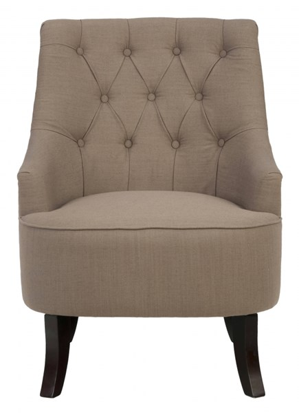 Stella Traditional Brown Fabric Hand Tufted Accent Chair JFN-STELLA-CH-EARTH
