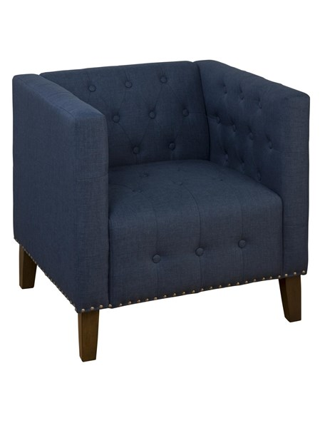Zoe Transitional Blue Wood Polyester Nailhead Trim Accent Chair JFN-ZOE-CH-BLUE