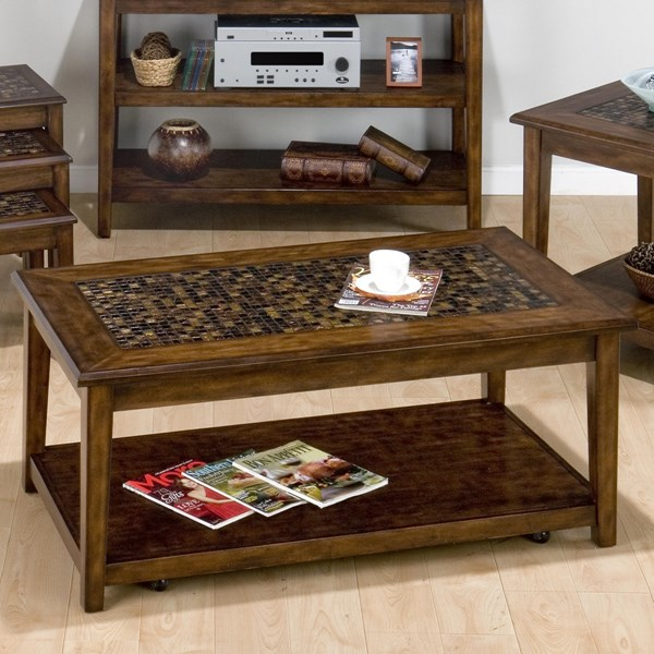 Jofran Furniture Baroque Brown Cocktail Table with Hidden Casters JFN-698-1