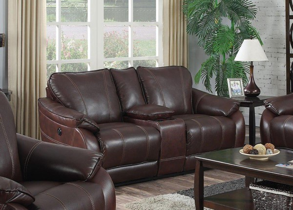 Jennifer Furniture Milton Brown Leather Power Loveseat JNF-KCD1658-BROWN-PWR-LS