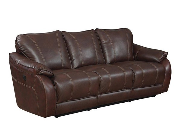 Jennifer Furniture Milton Brown Leather Power Sofa JNF-KCD1658-BROWN-PWR-SF