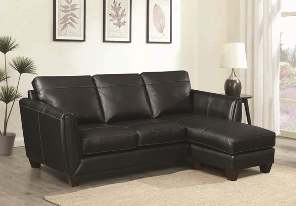 Jennifer Furniture Anthony Black Sofa Chaise JNF-MNY2646-71-BLACK