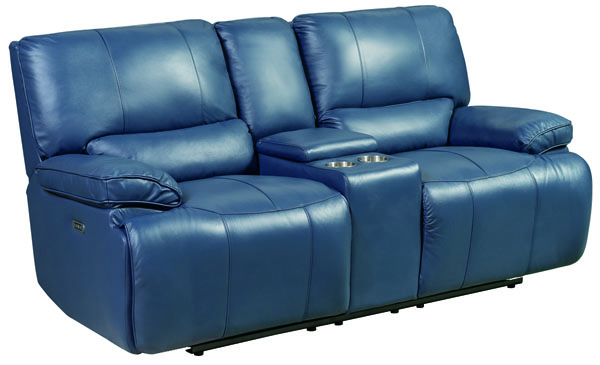 Jennifer Furniture Marnie Navy Leather Power Loveseat JNF-MNY2975-NAVY-PWR-LS