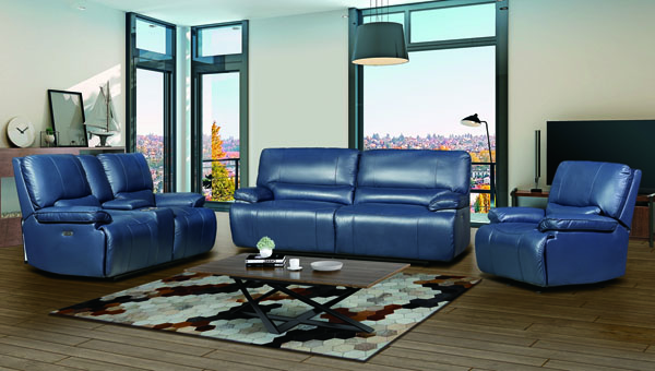 Jennifer Furniture Marnie Navy Leather 3pc Power Living Room Set JNF-MNY2975-NAVY-PWR-LR-S2