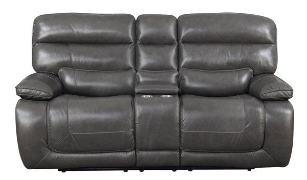 Kian USA Newton Gray Power Reclining Console Loveseat KIAN-105-80-25P2
