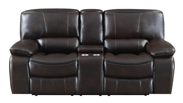 Kian USA Wilmington Brown Reclining Console Loveseat KIAN-11-00-25R