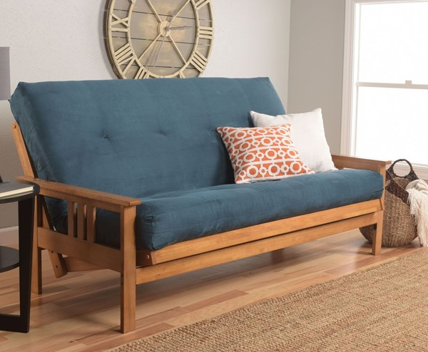 Kodiak Furniture Monterey Butternut Frame Blue Suede Mattress Full Futon KOD-KFMOBTSNAVYLF5MD3