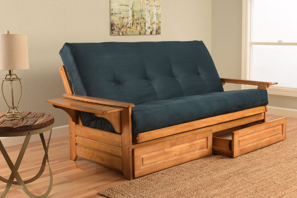 Kodiak Furniture Phoenix Butternut Frame Blue Suede Mattress Futon with Drawer KOD-KFPHDBTSNAVYLF5MD4