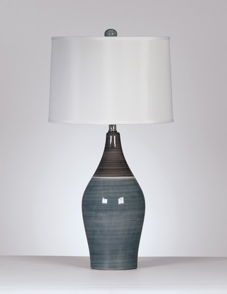 2 Ashley Furniture Niobe Gray Ceramic Table Lamps L123884