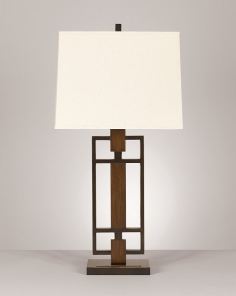 2 Omaris Contemporary Bronze Wood Metal Table Lamps L406894