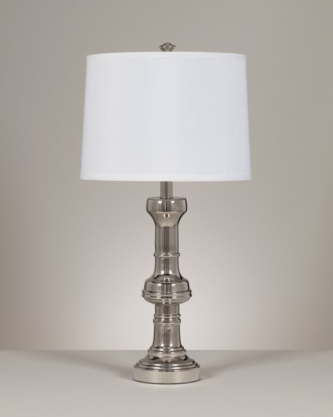 2 Peggy Contemporary Silver Metal Table Lamps L410124